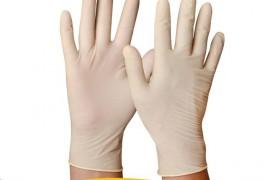 一次性米黄乳胶手套 防滑无粉乳胶手套